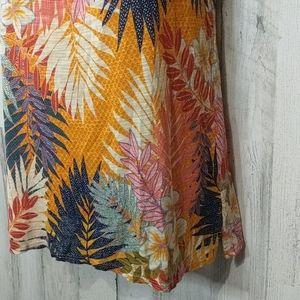 Cable & Gauge Tops - CABLE & GAUGE Orange Tropical Floral Palm Leaf Top